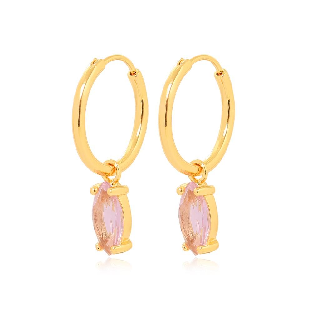Brinco Argola com Cristal Navete Rosa Folheado Ouro 18K