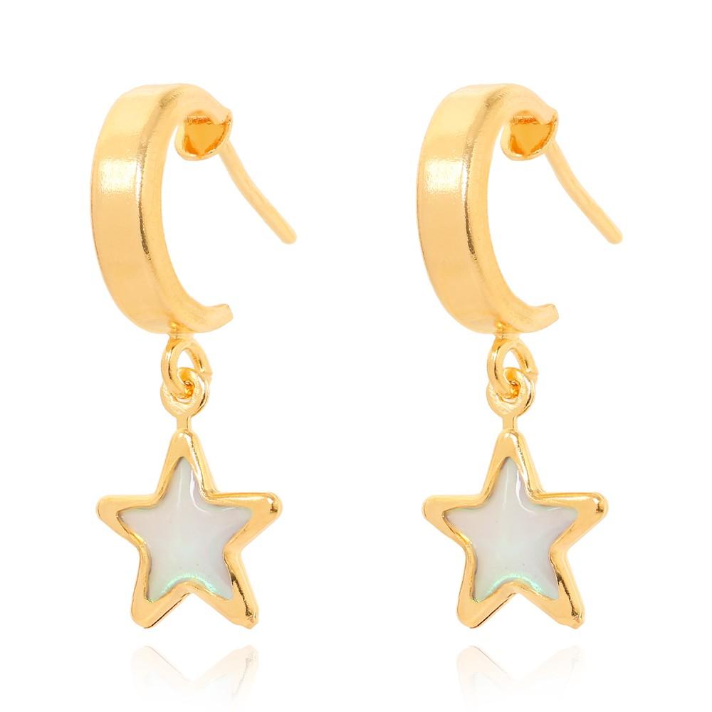 Brinco Argola com Estrela Holografica Folheado Ouro 18K