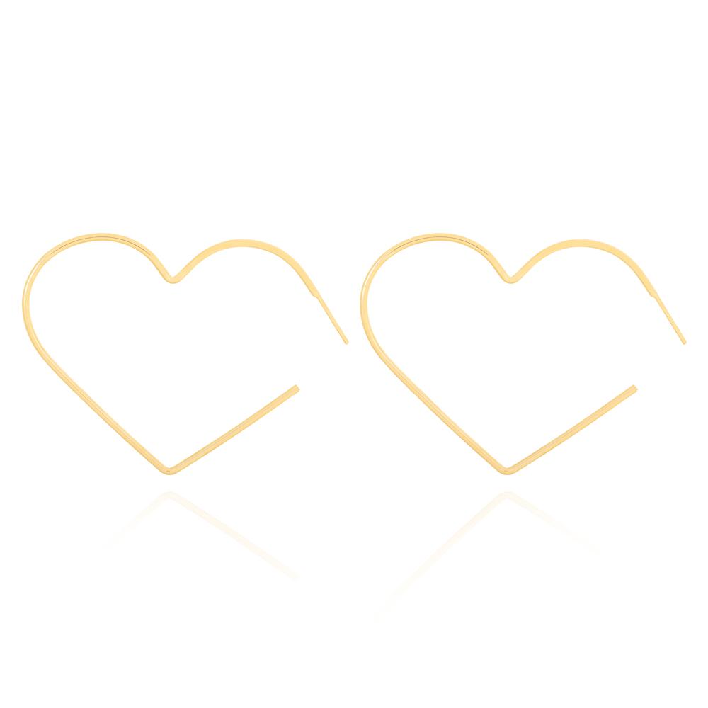Brinco Argola Coração Fio Fino Lisa Grande Semijoia Ouro 18K