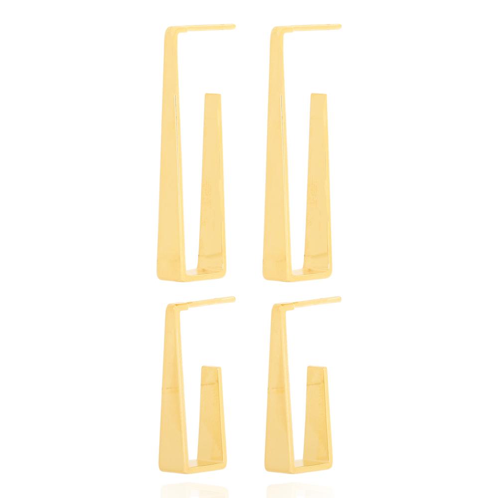 Brinco Argola Dupla Chapa Triangular Lisa Semijoia Ouro 18K