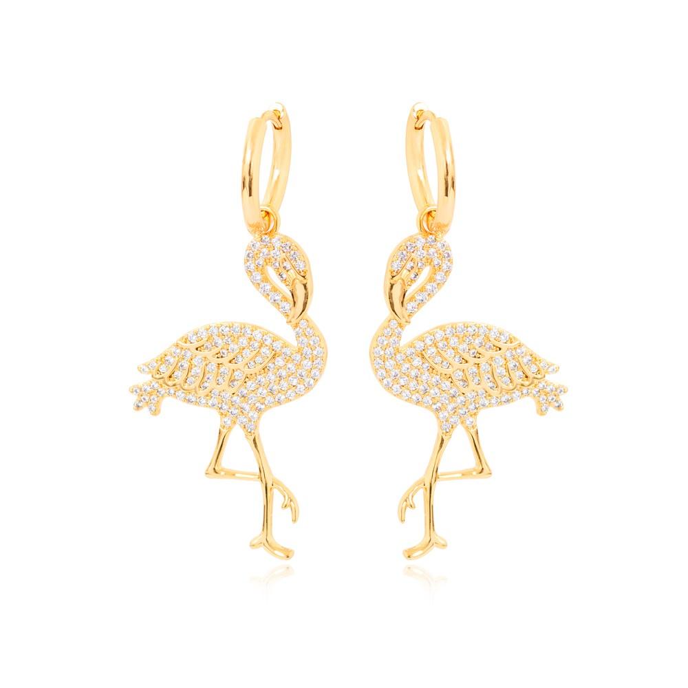 Brinco Argola Folheado Ouro 18K com Flamingo