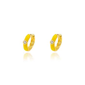 Brinco Argola Folheado Ouro 18K com Resina Amarelo
