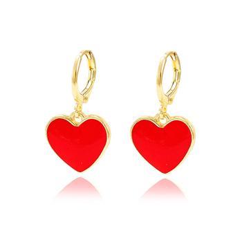 Brinco Argola Folheado Ouro 18K Coração com Resina Vermelho