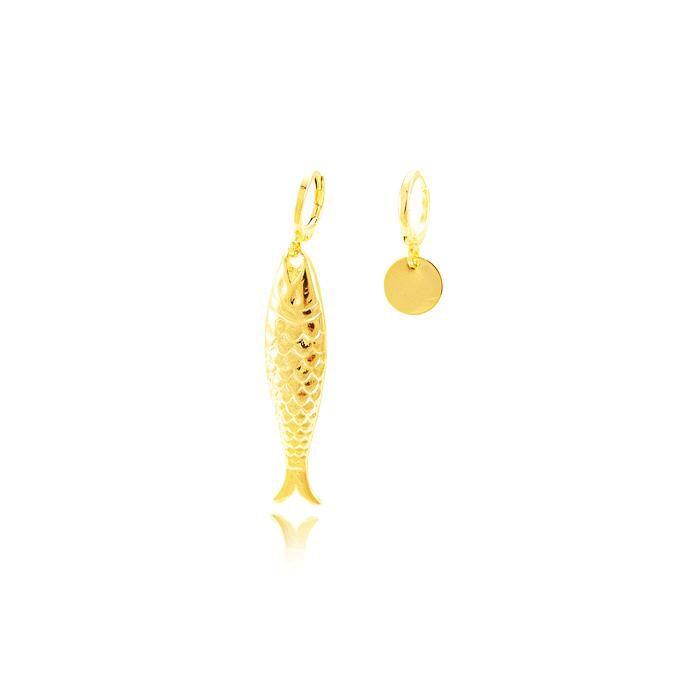 Brinco Argola Folheado Ouro 18K Detalhado com Peix
