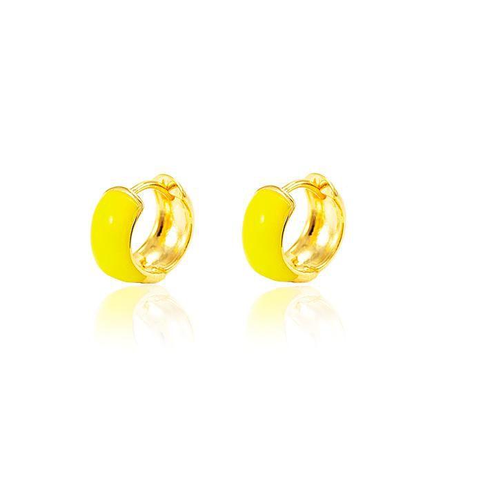 Brinco Argola Folheado Ouro 18K Resina Amarelo Neo