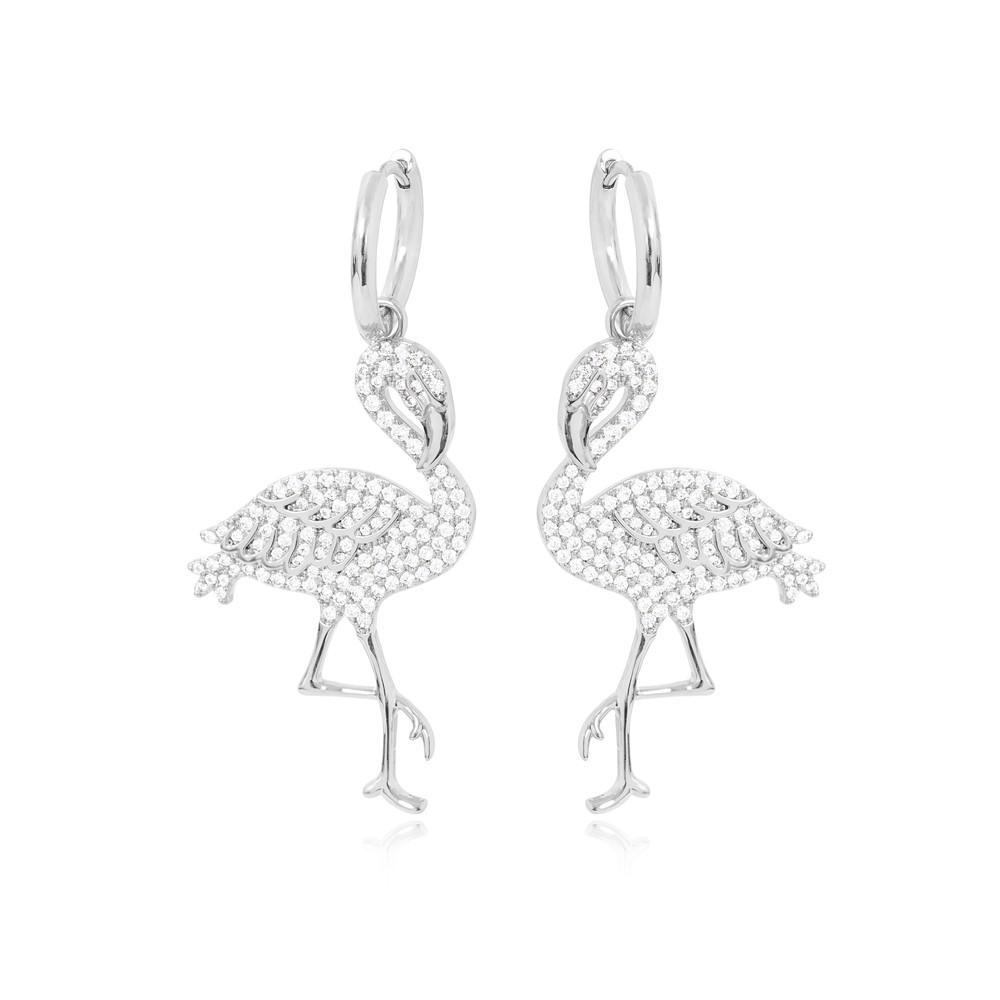 Brinco Argola Folheado Ródio  com Flamingo