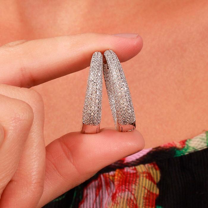Brinco Argola Folheado Ródio com Micro Zircônia Cristal