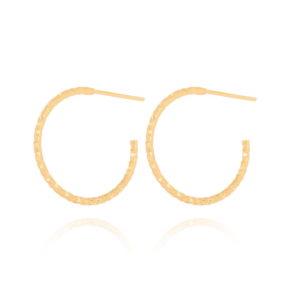 Brinco Argola Grande Texturizada Diamantada Semijoia Ouro 18K