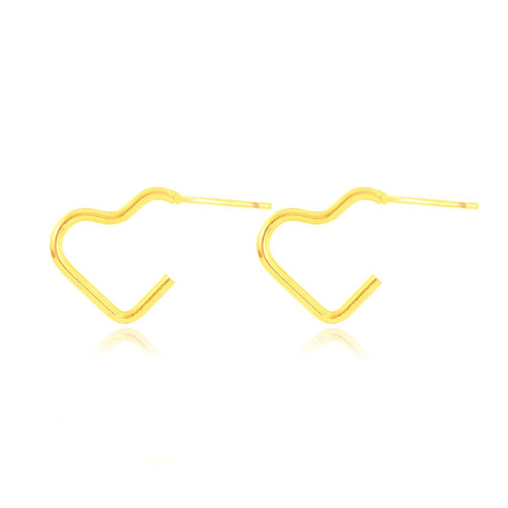 Brinco Argola Lisa de Coração Folheado Ouro 18K