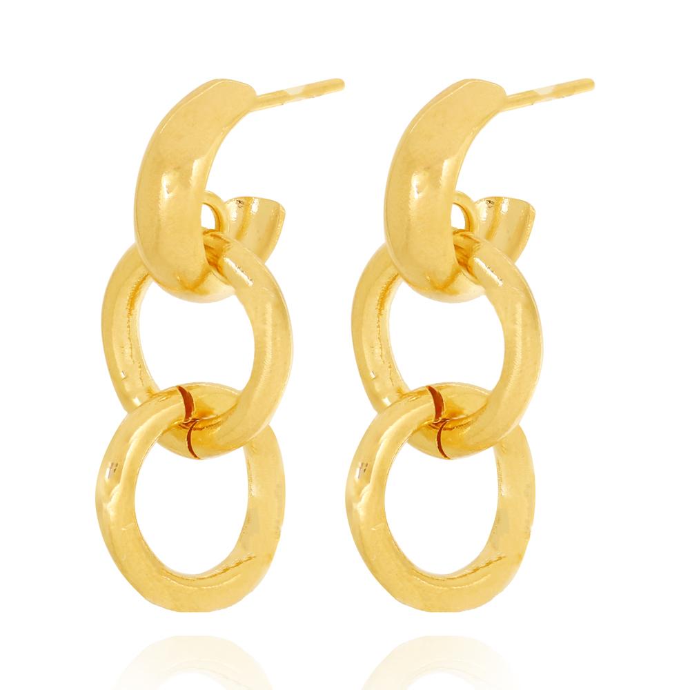 Brinco Argola Lisa Pequena Dois Círculos Vazados Pendurados Semijoia Ouro 18K