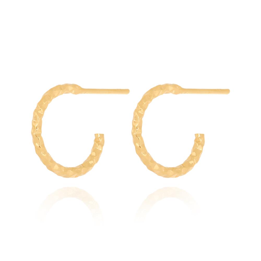 Brinco Argola Pequena Texturizada Diamantada Semijoia Ouro 18K