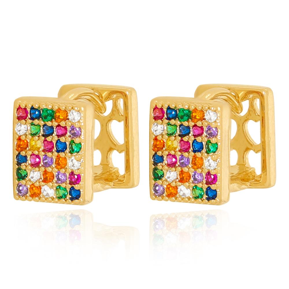 Brinco Argola Quadrada com Zircônias Coloridas Semijoia Ouro 18K