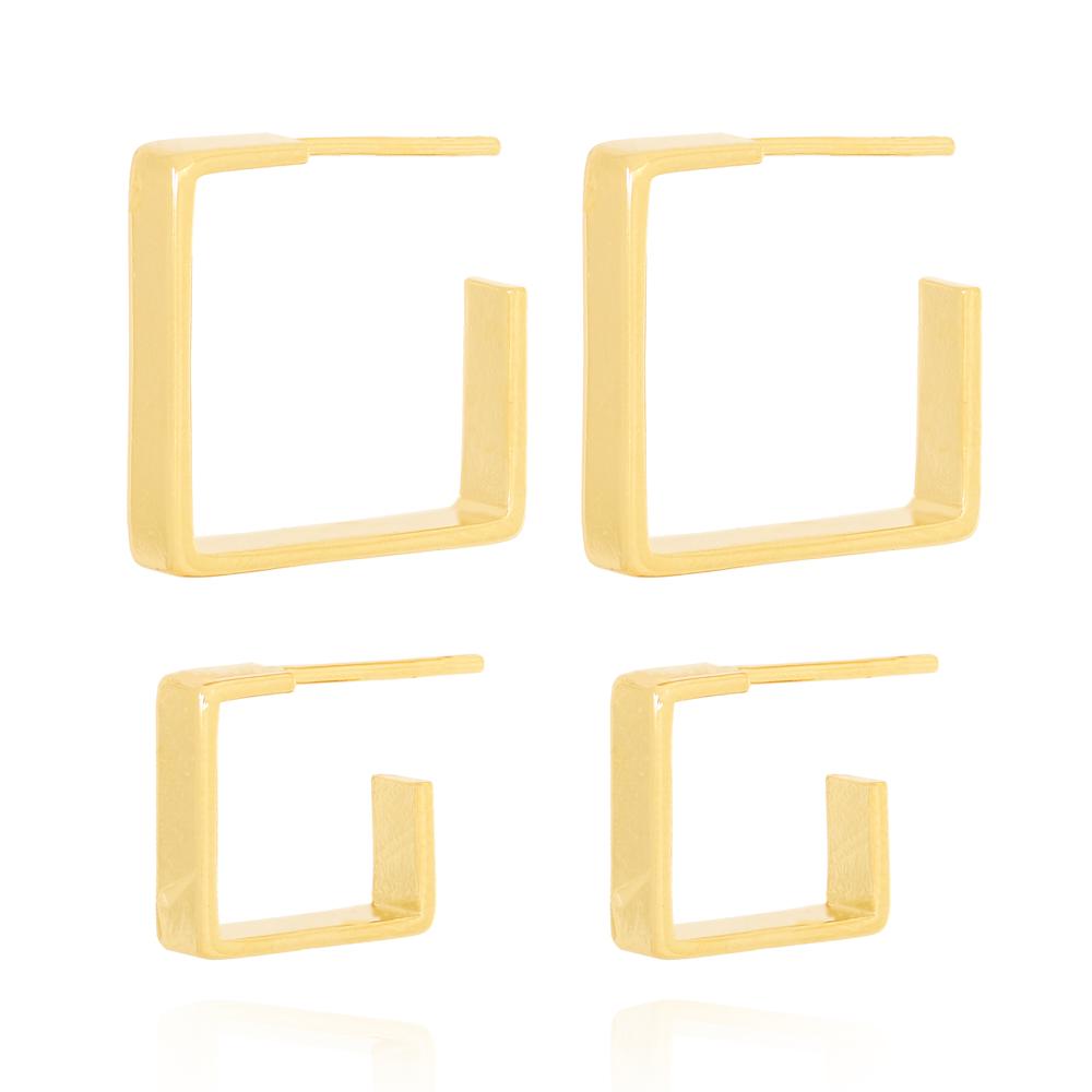 Brinco Argola Quadrada Duplo Liso Semijoia Ouro 18K