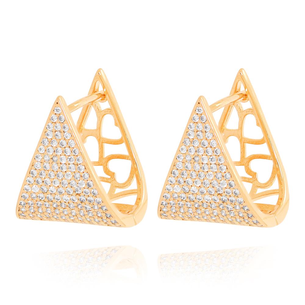 Brinco Argola Triangular com Zircônias Semijoia Ouro 18K Champagne