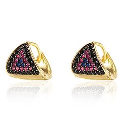 Brinco Argola Triangular Folheado Ouro 18K com Zir