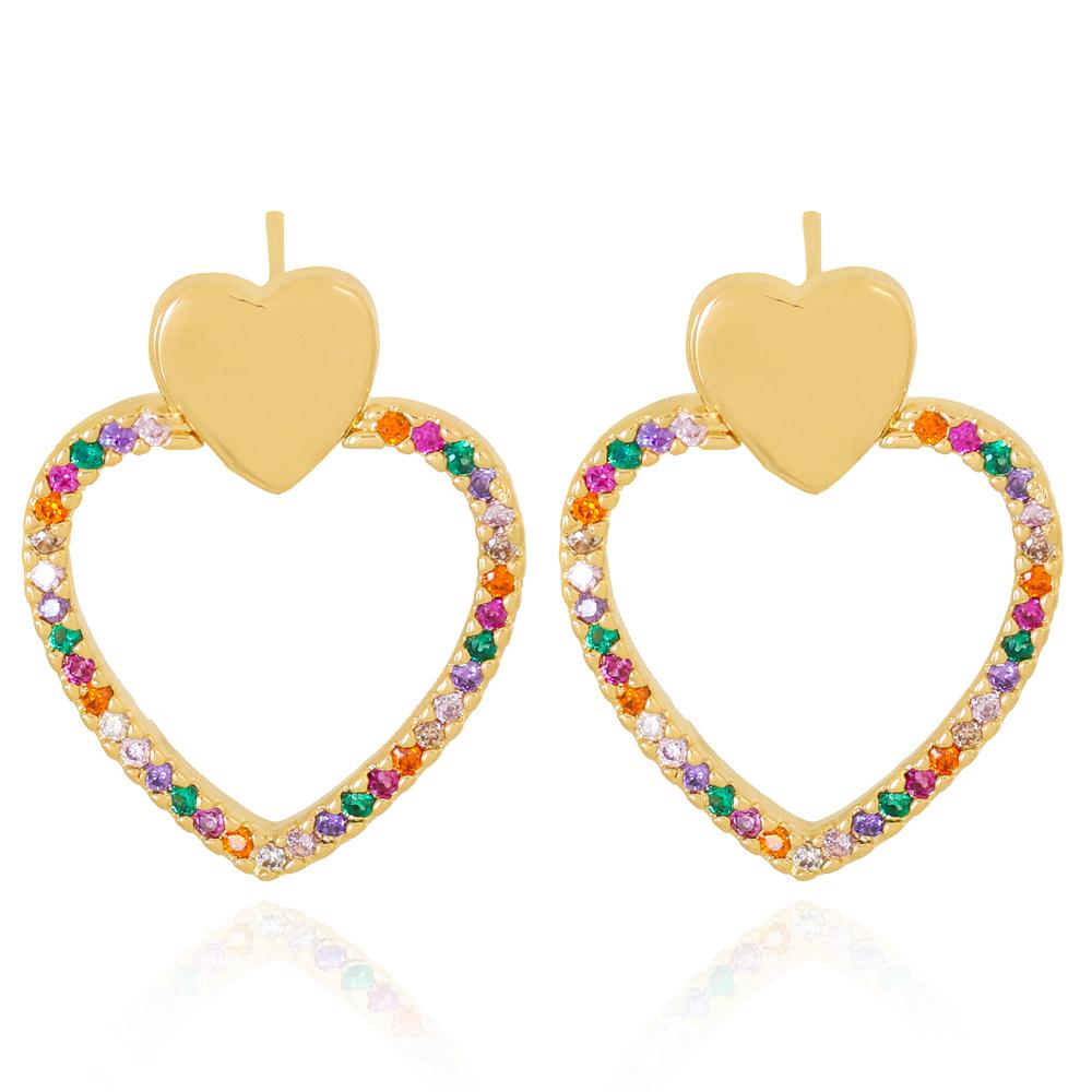 Brinco Base Coração Liso e Coração em Zircônias Colorida Semijoia Ouro 18K