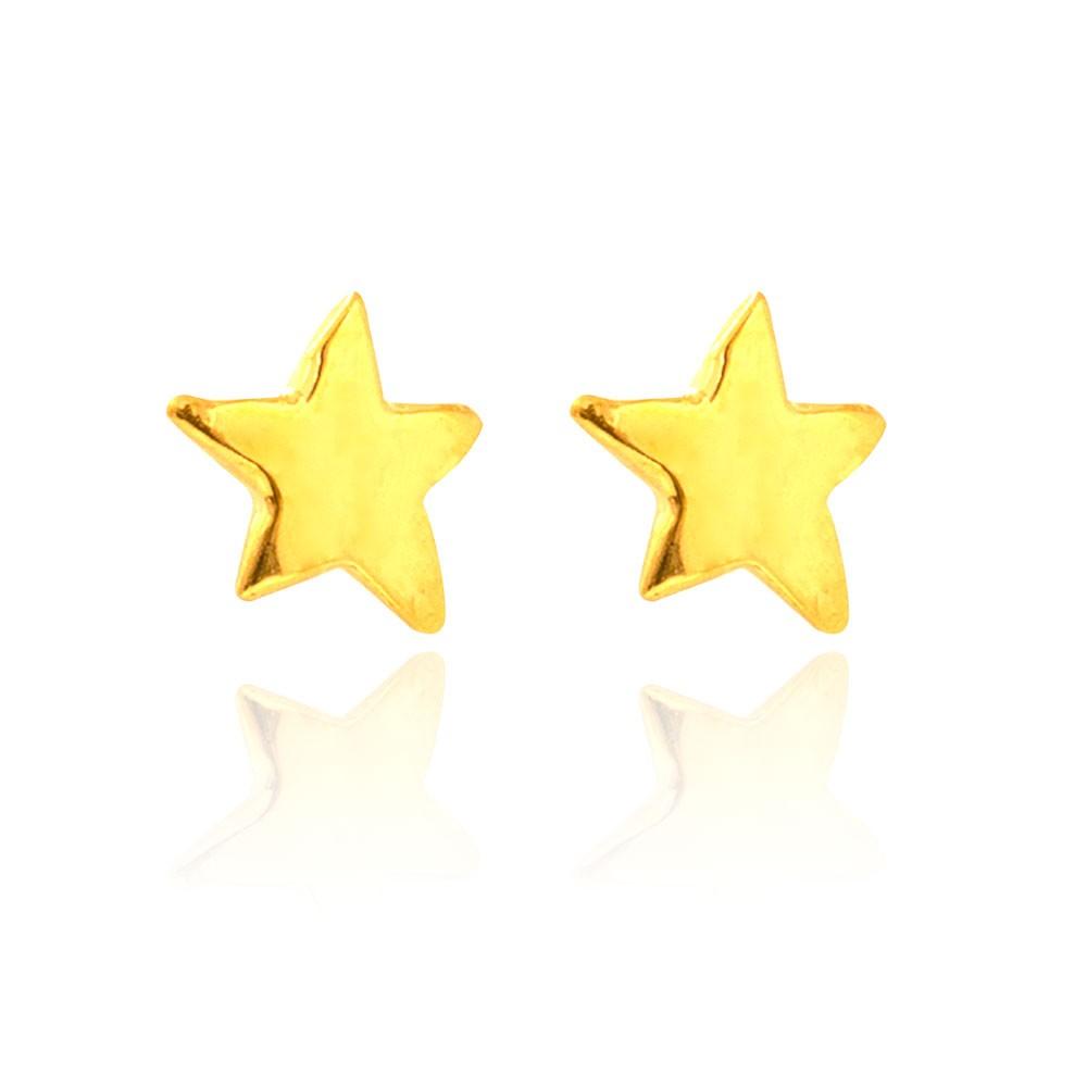 Brinco Base  Estrela Assimétrica  Folheado Ouro 18K