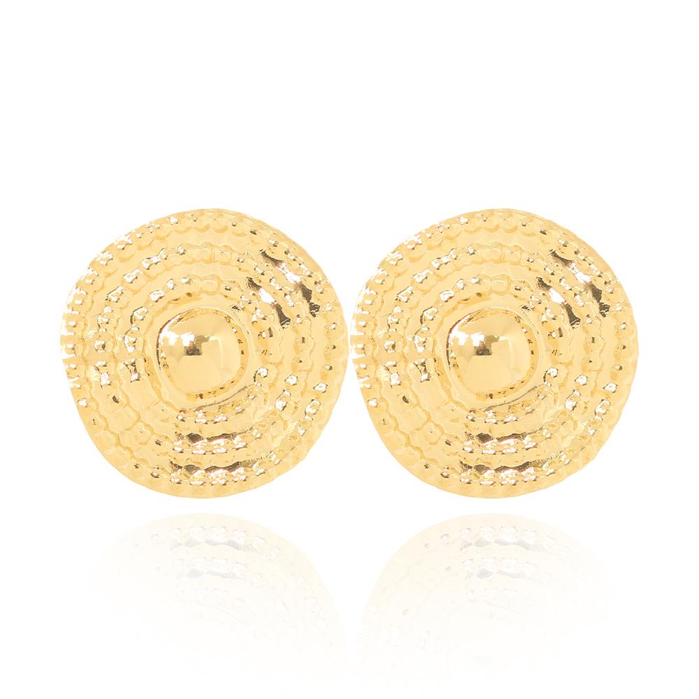 Brinco Círculo Ondulado Pequeno Folheado Ouro 18K