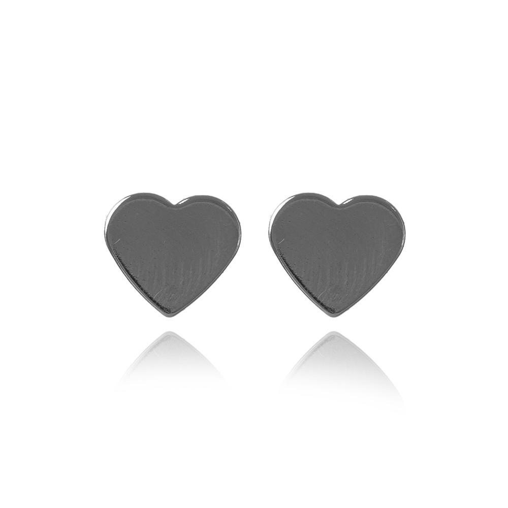 Brinco Coração Chapa Liso Folheado Ródio Negro