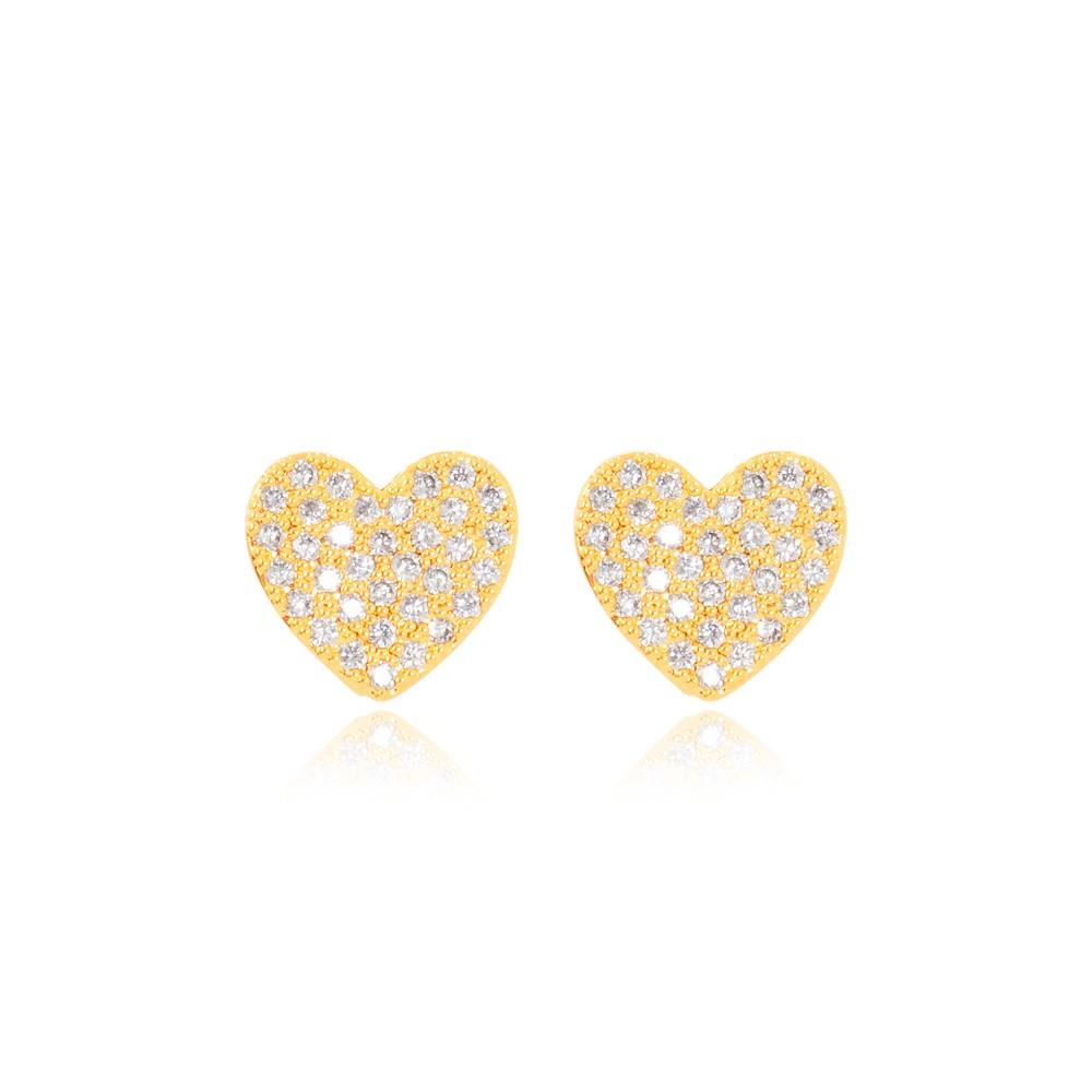 Brinco Coração Delicado Folheado Ouro 18K com Micro Zircônia