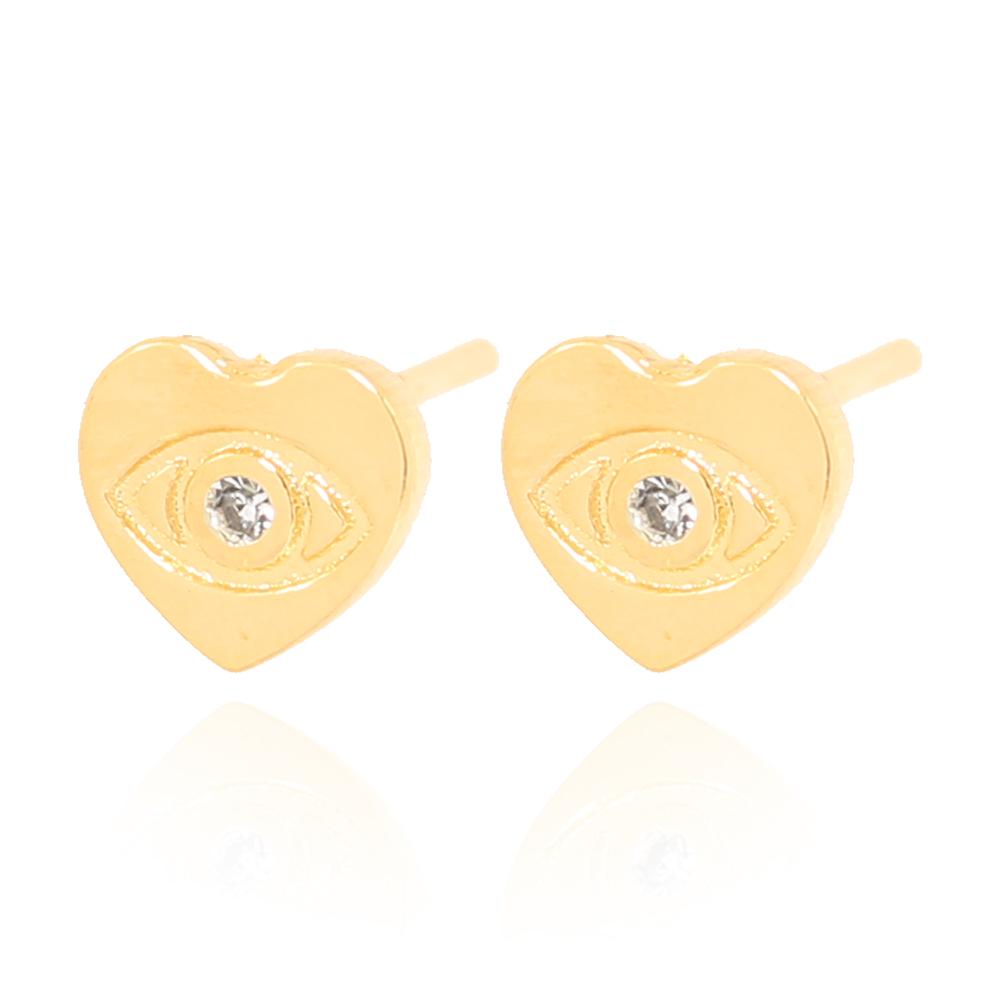 Brinco Coração Folheado Ouro 18K com Olho Desenhado e Micro Zircônia
