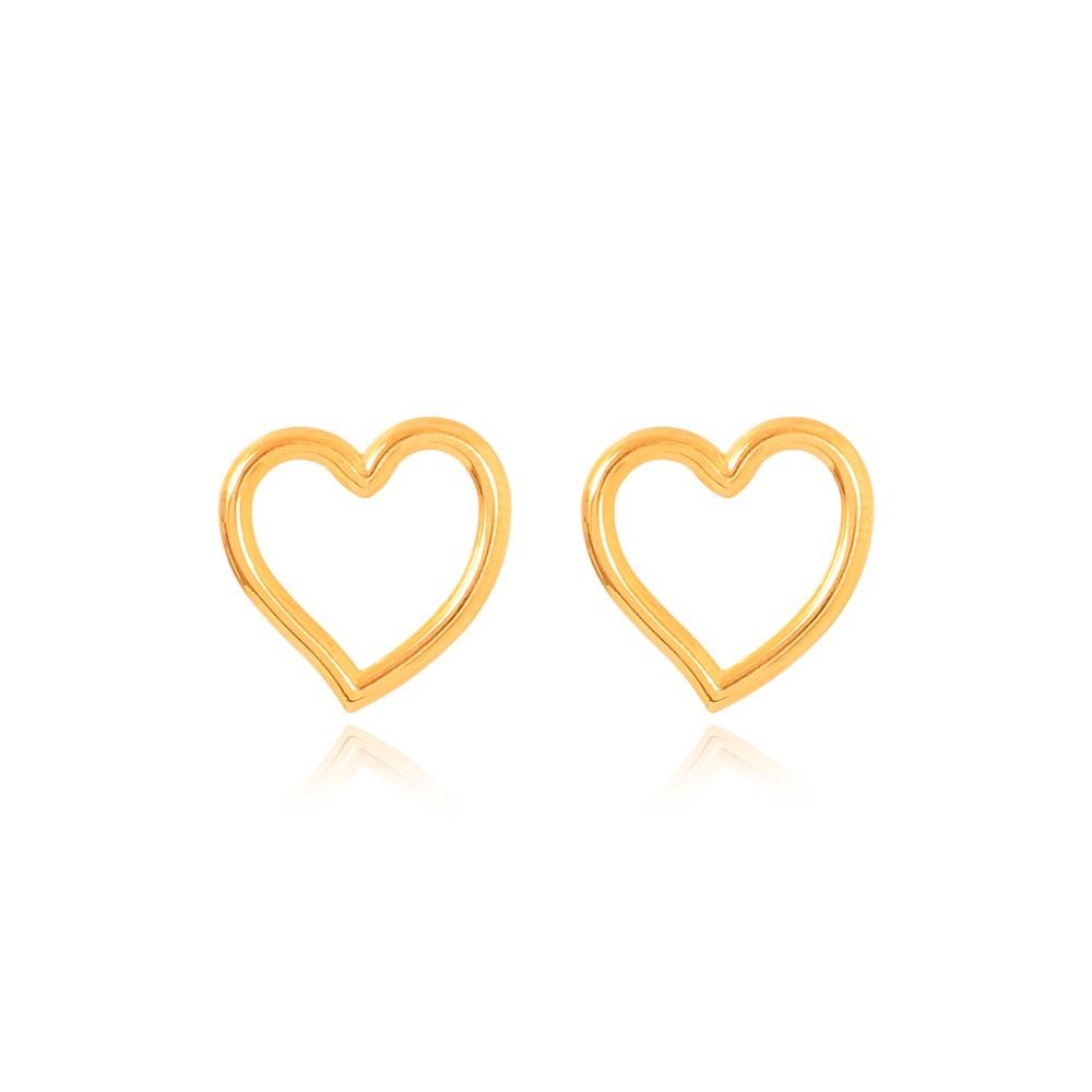 Brinco Coração Liso Vazado Folheado Ouro 18K