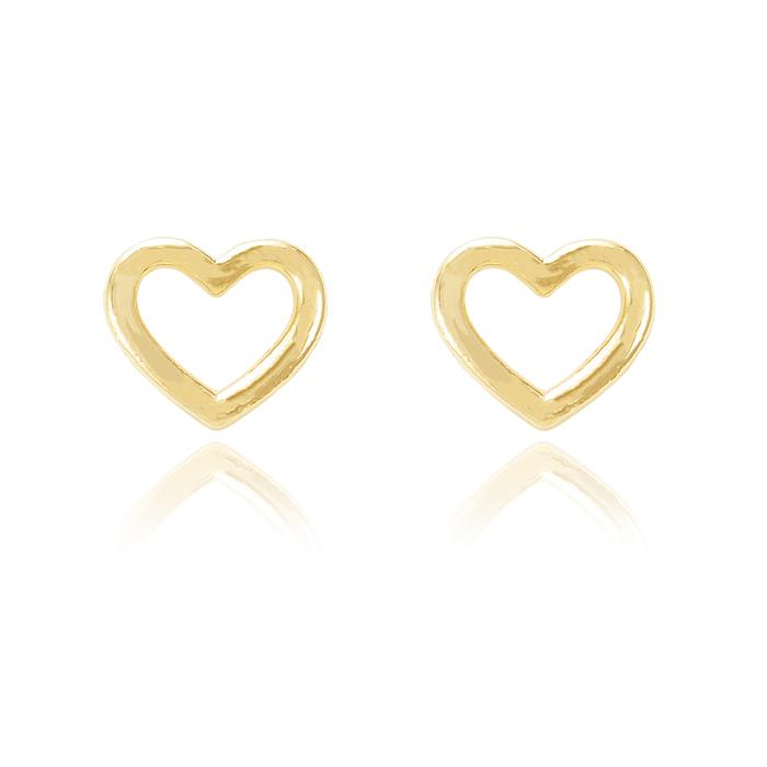 Brinco Coração Vazado Folheado Ouro 18K Grande