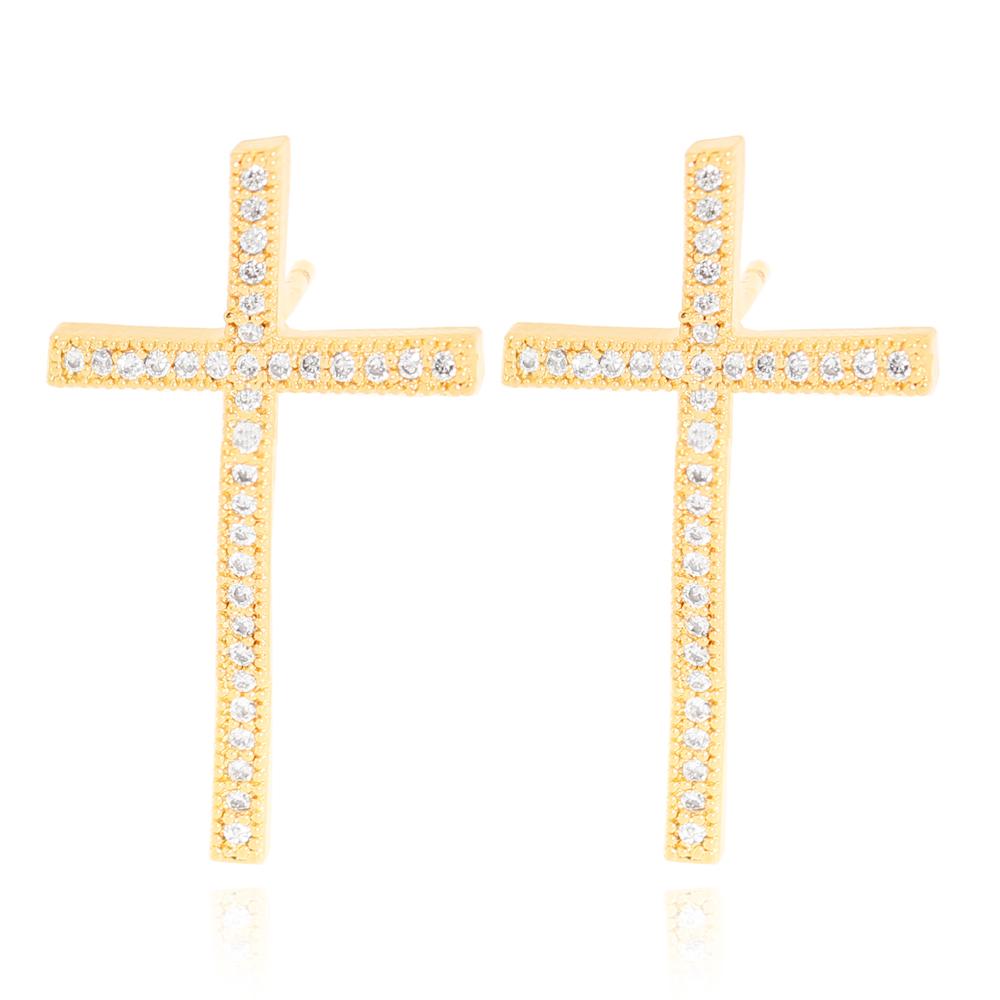 Brinco Cruz em Zircônias Semijoia Ouro 18K