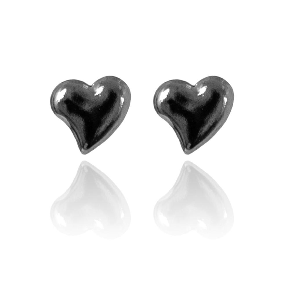 Brinco Delicado de Coração Liso Folheado Ródio Negro