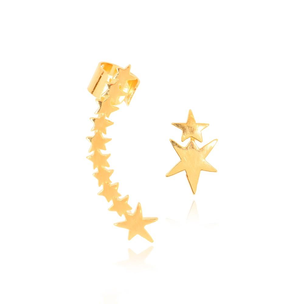 Brinco Ear Cuff Assimétrico Estrelas Folheado Ouro 18K