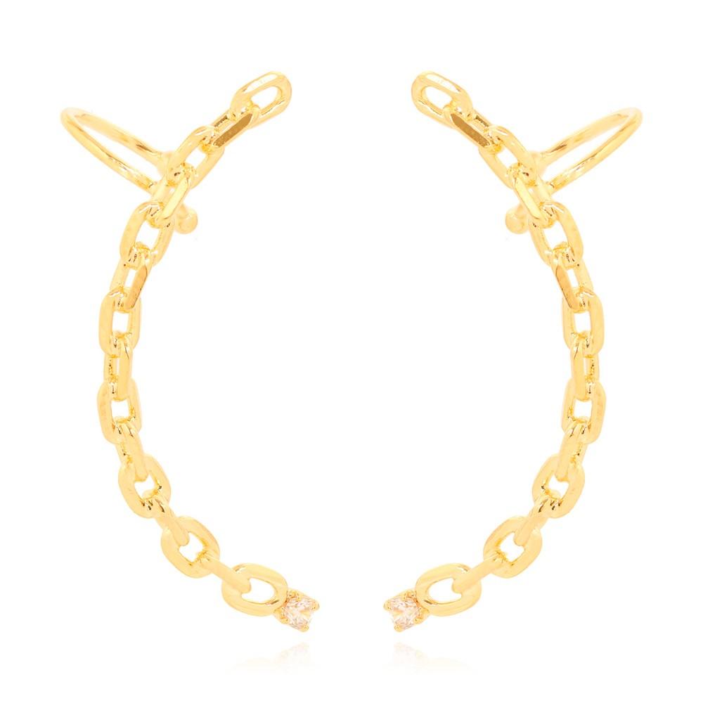 Brinco Ear Cuff Elo Cartier Folheado Ouro 18K com Ponto de Luz Cristal