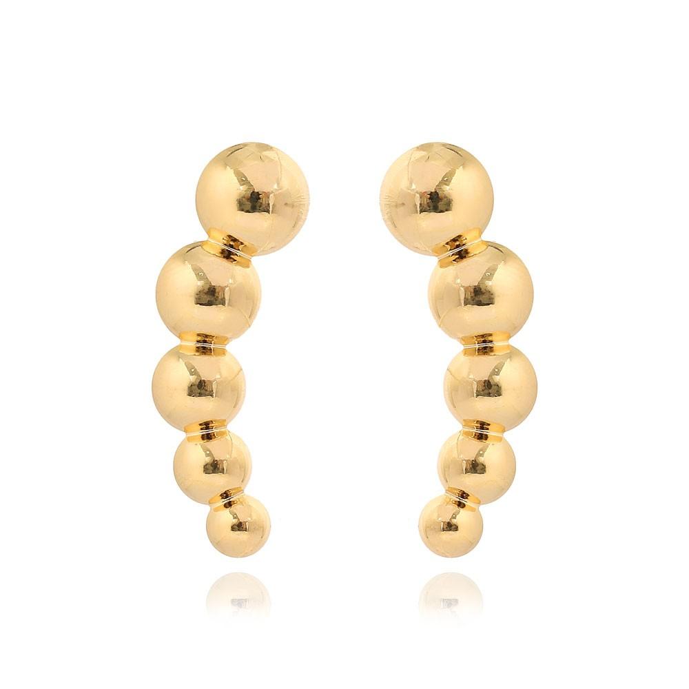 Brinco Ear Cuff Esferas Folheado Ouro 18K