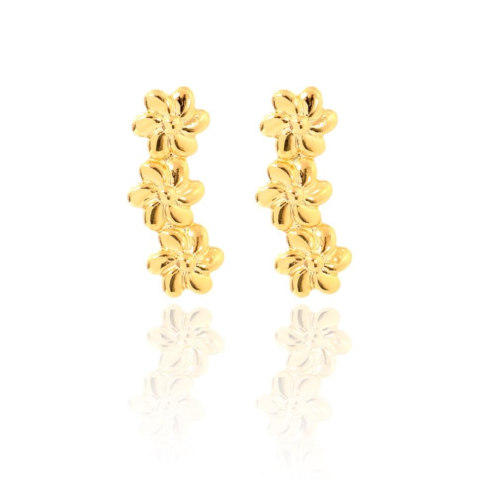 Brinco Ear Cuff Flores Folheado Ouro 18K