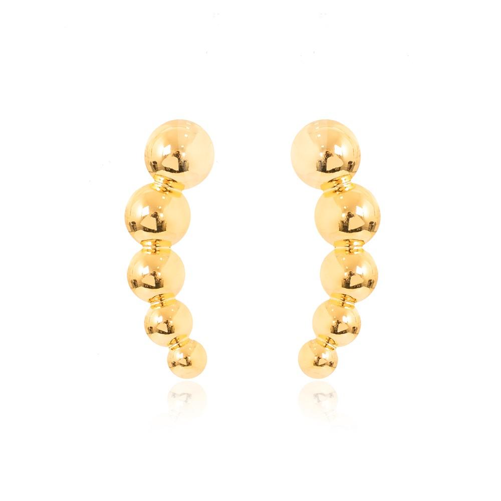 Brinco Ear Cuff Folheado Ouro 18K Bolinhas Interligadas