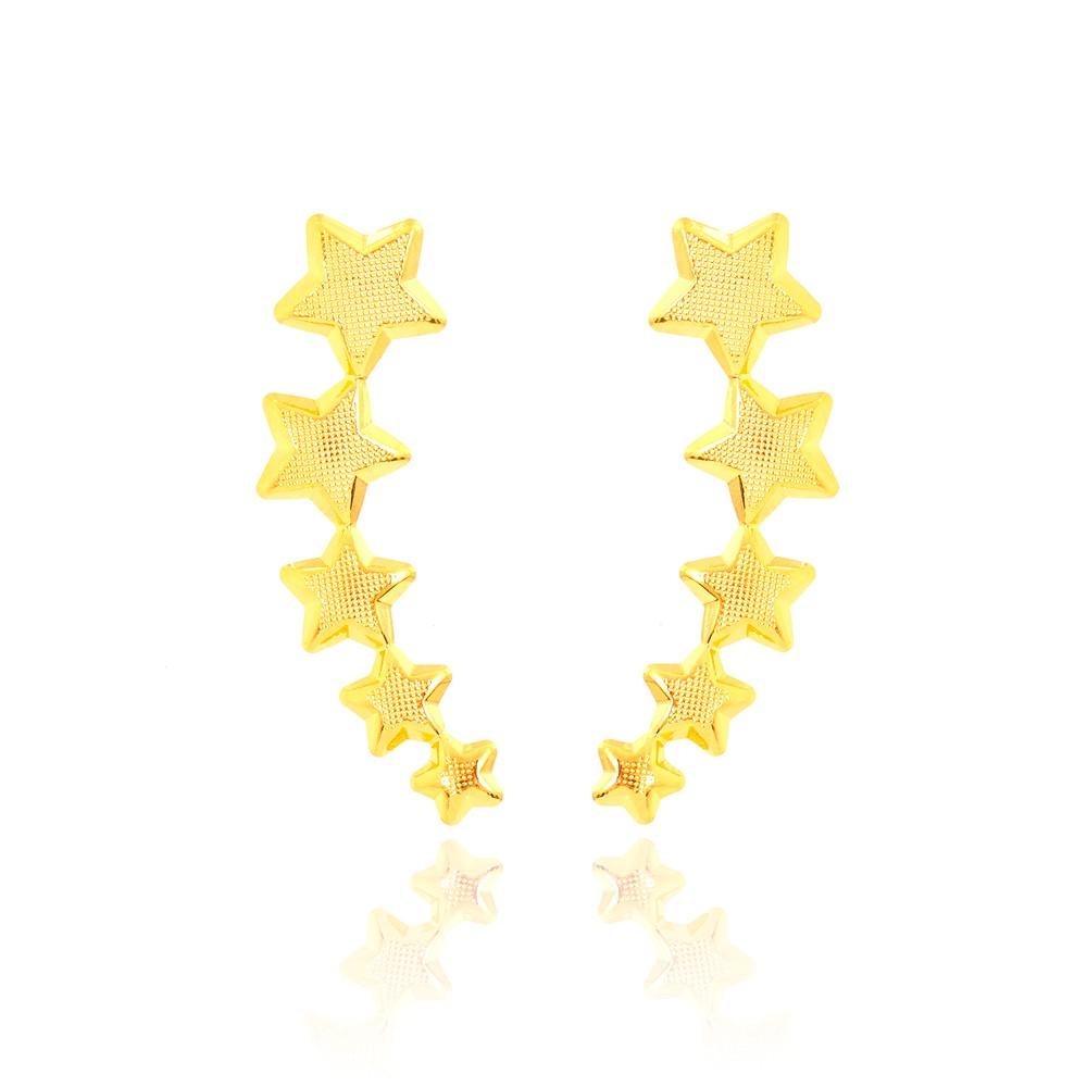 Brinco Ear Cuff Folheado Ouro 18K  Cinco Estrelas