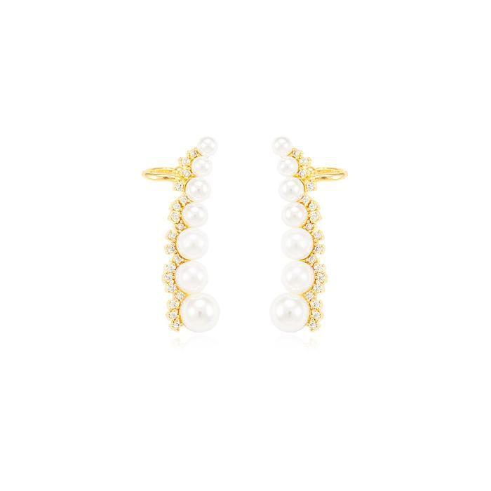 Brinco Ear Cuff Folheado Ouro 18K Pérolas com Micro Zirconia