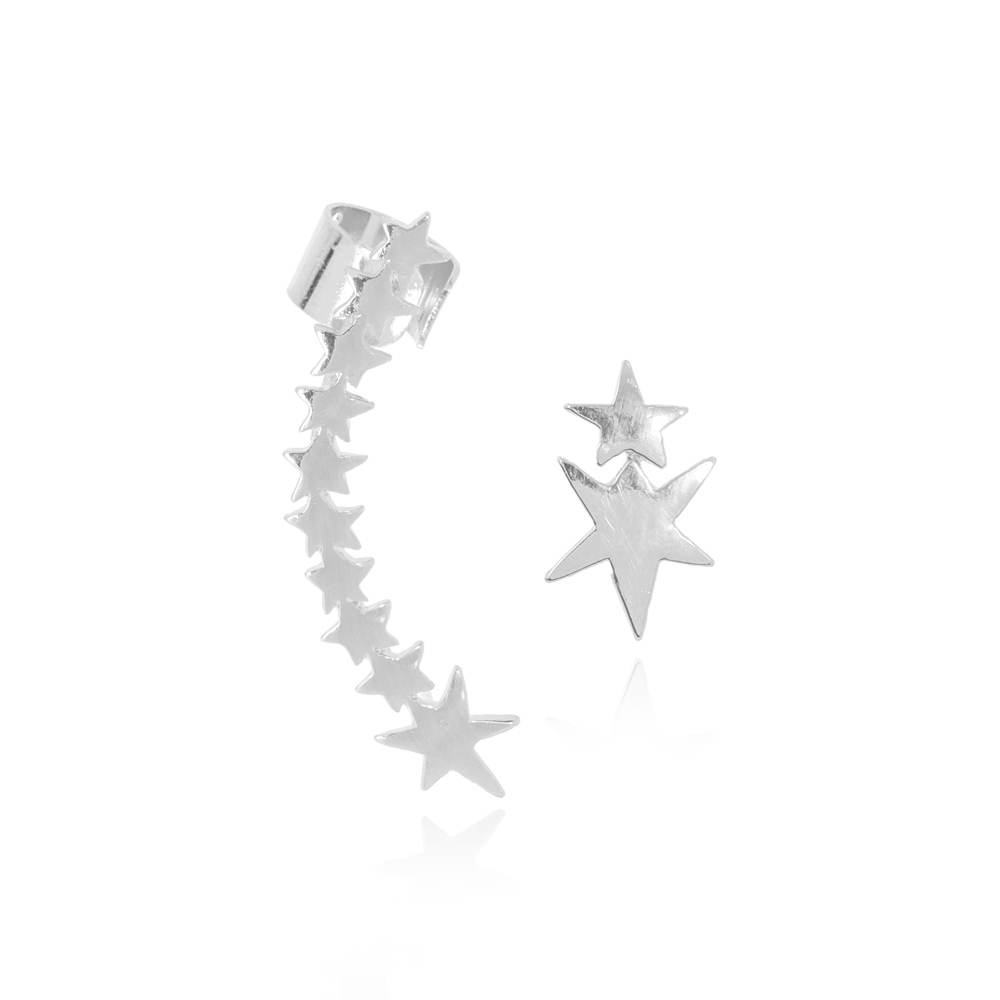 Brinco Ear Cuff Folheado Ródio Assimétrico Estrelas