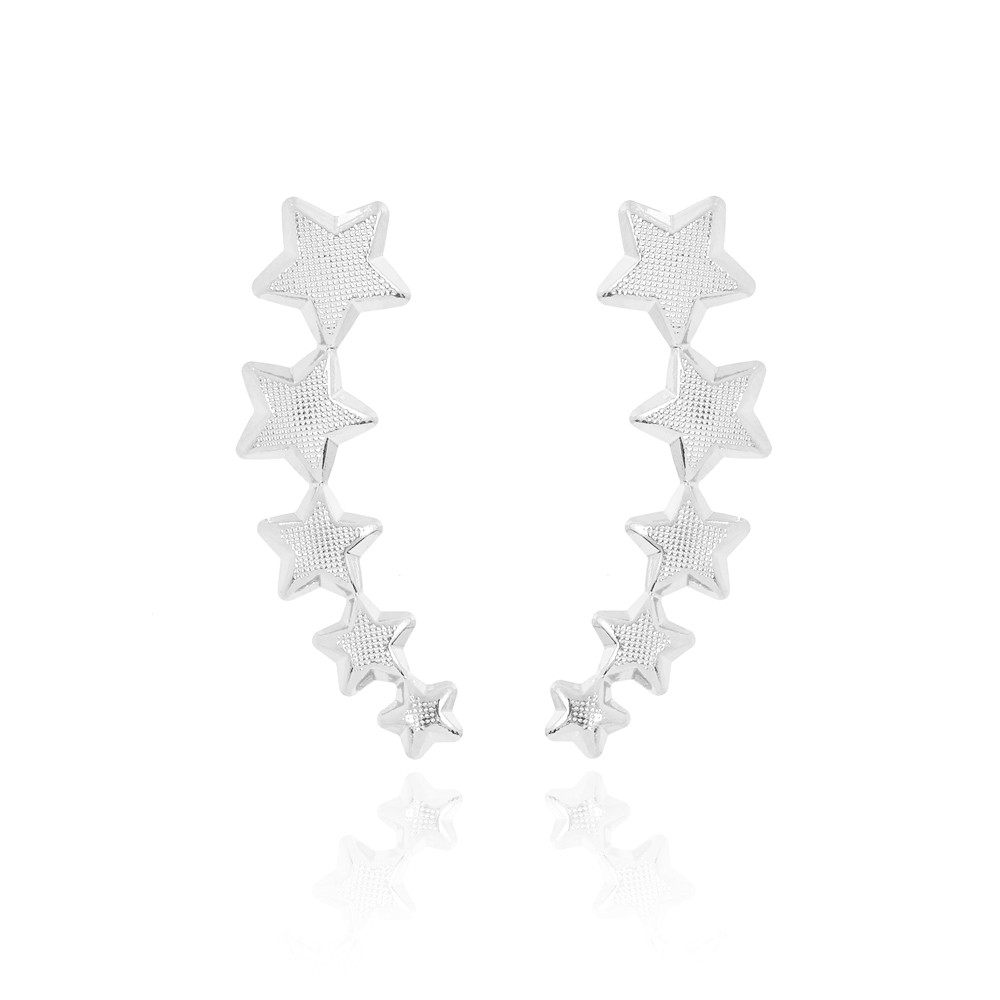 Brinco Ear Cuff Folheado Ródio   Cinco Estrelas