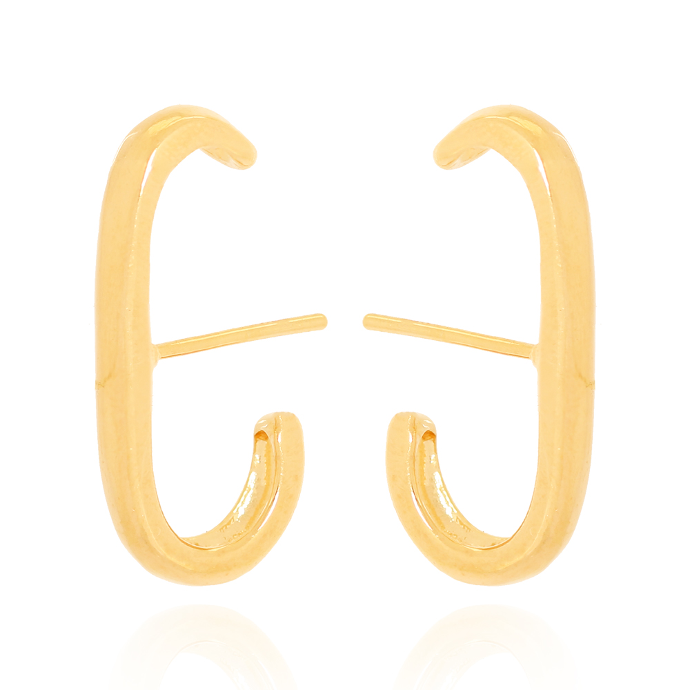 Brinco Ear Hook Fio Liso Semijoia Ouro 18K