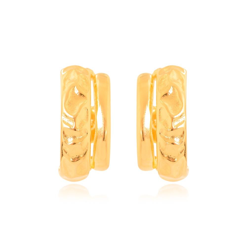 Brinco Ear Hook Folheado Ouro 18K Barra Lisa e Barra com Detalhes Amassados