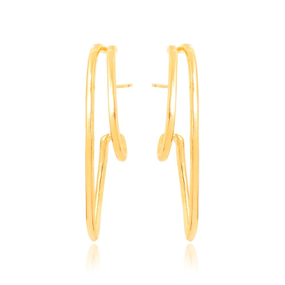 Brinco Ear Hook Folheado Ouro 18K Barra Pequena e Grande Lisa