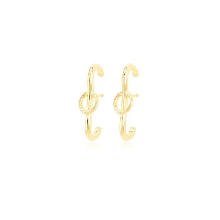 Brinco Ear Hook Folheado Ouro 18K Liso com Círculo