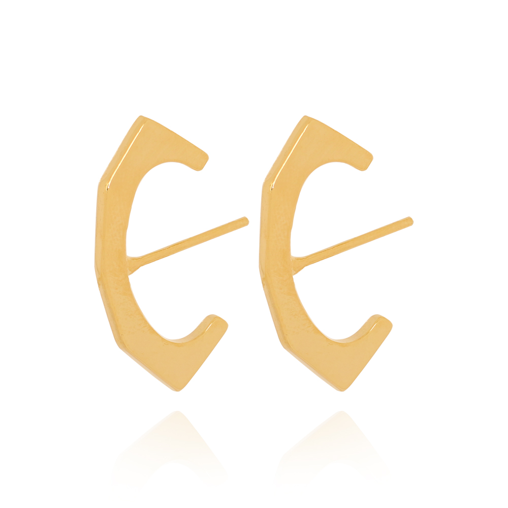 Brinco Ear Hook Geométrico Liso Semijoia Ouro 18K