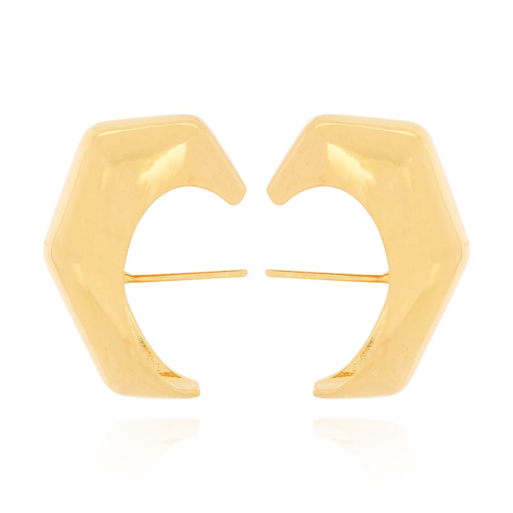 Brinco Ear Hook Largo Hexágono Semijoia Ouro 18K