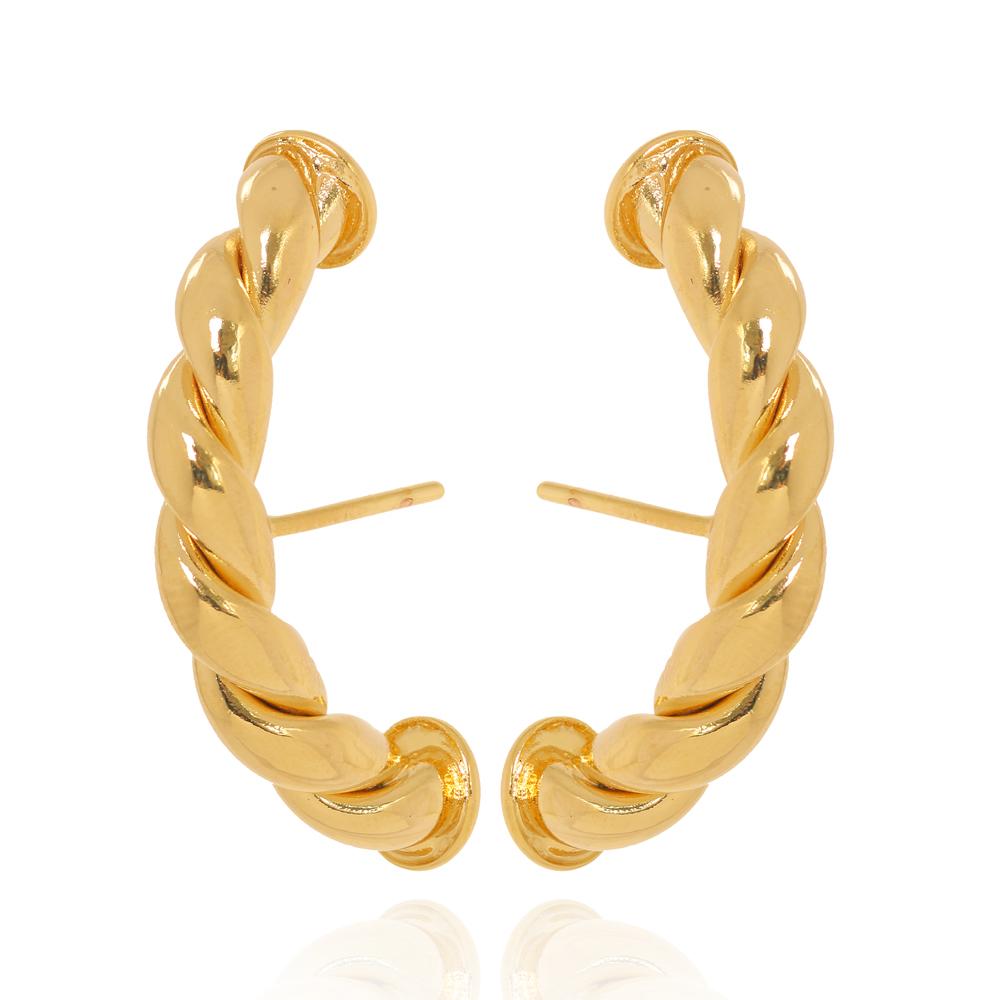 Brinco EAR HOOK Torcido Folheado Ouro 18K