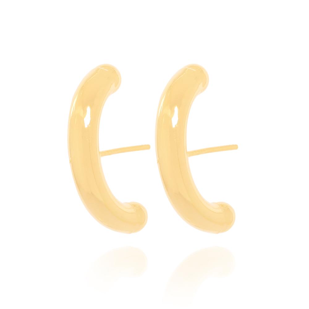 Brinco Ear Hook Tubo Liso Semijoia Ouro 18K