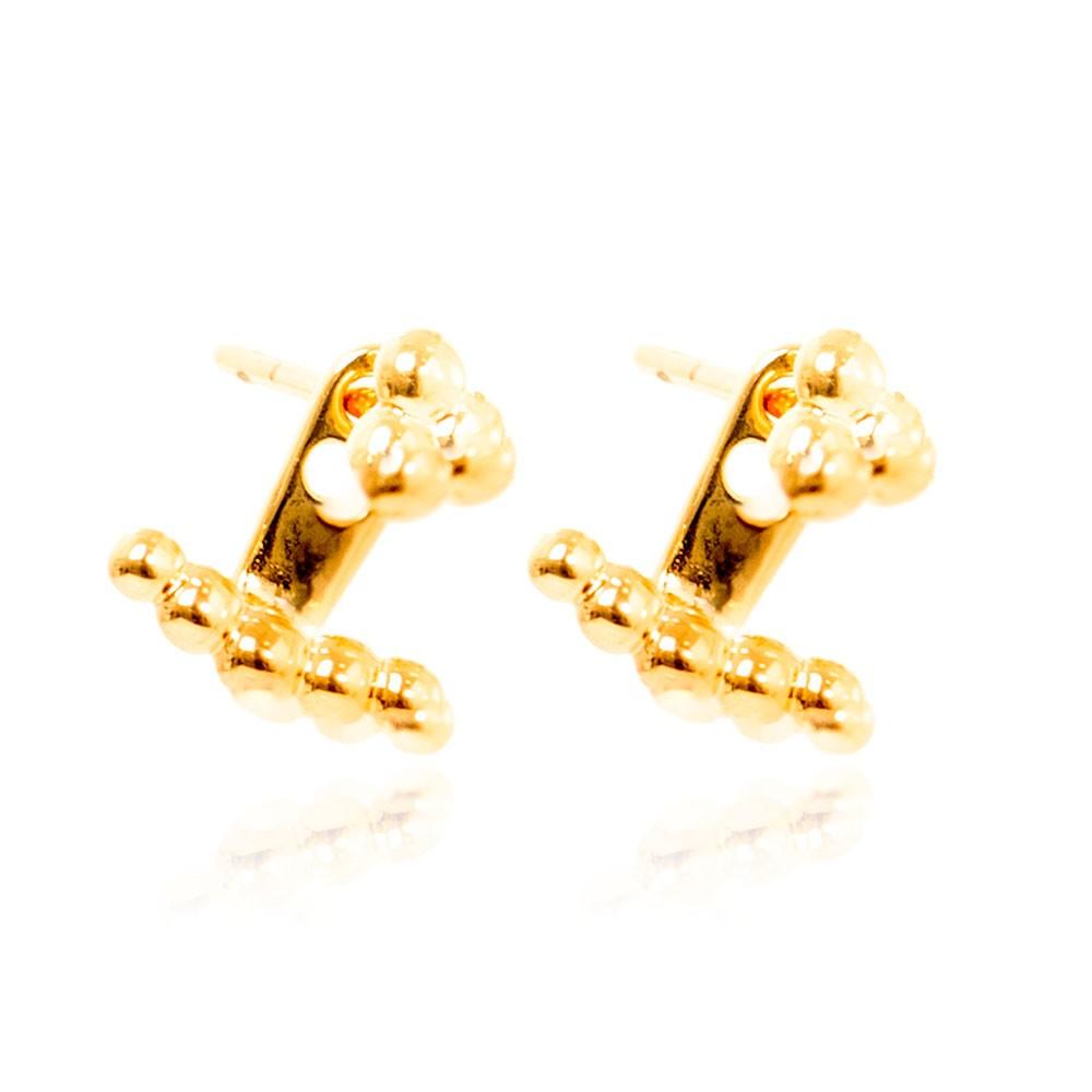 Brinco Ear Jacket Folheado Ouro 18K com Bolinhas