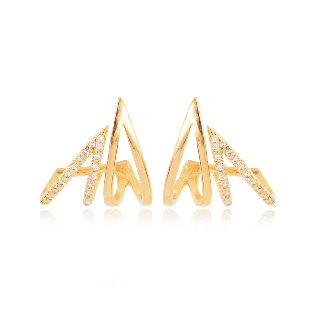 Brinco Ear Jacket Folheado Ouro 18K com Dois Triângulos um com Micro Zircônia e um Liso