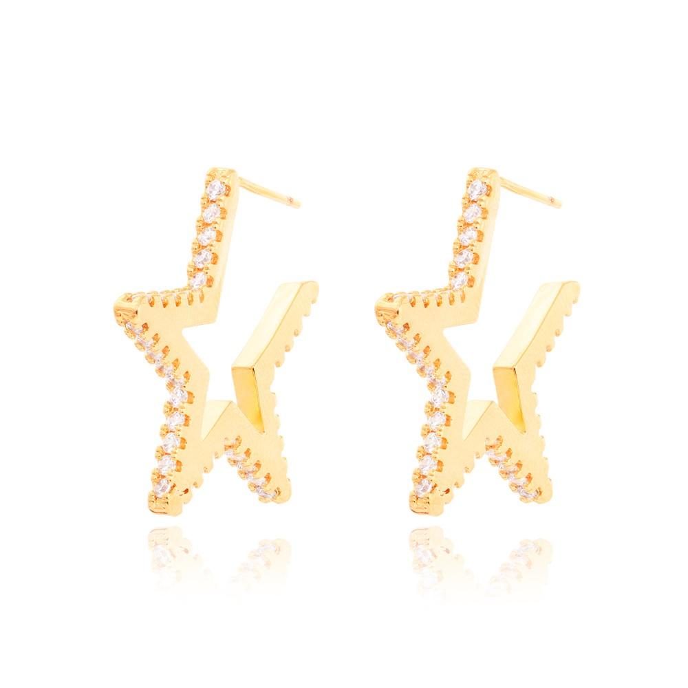 Brinco Estrela Grande Folheado Ouro 18K com Micro Zircônia