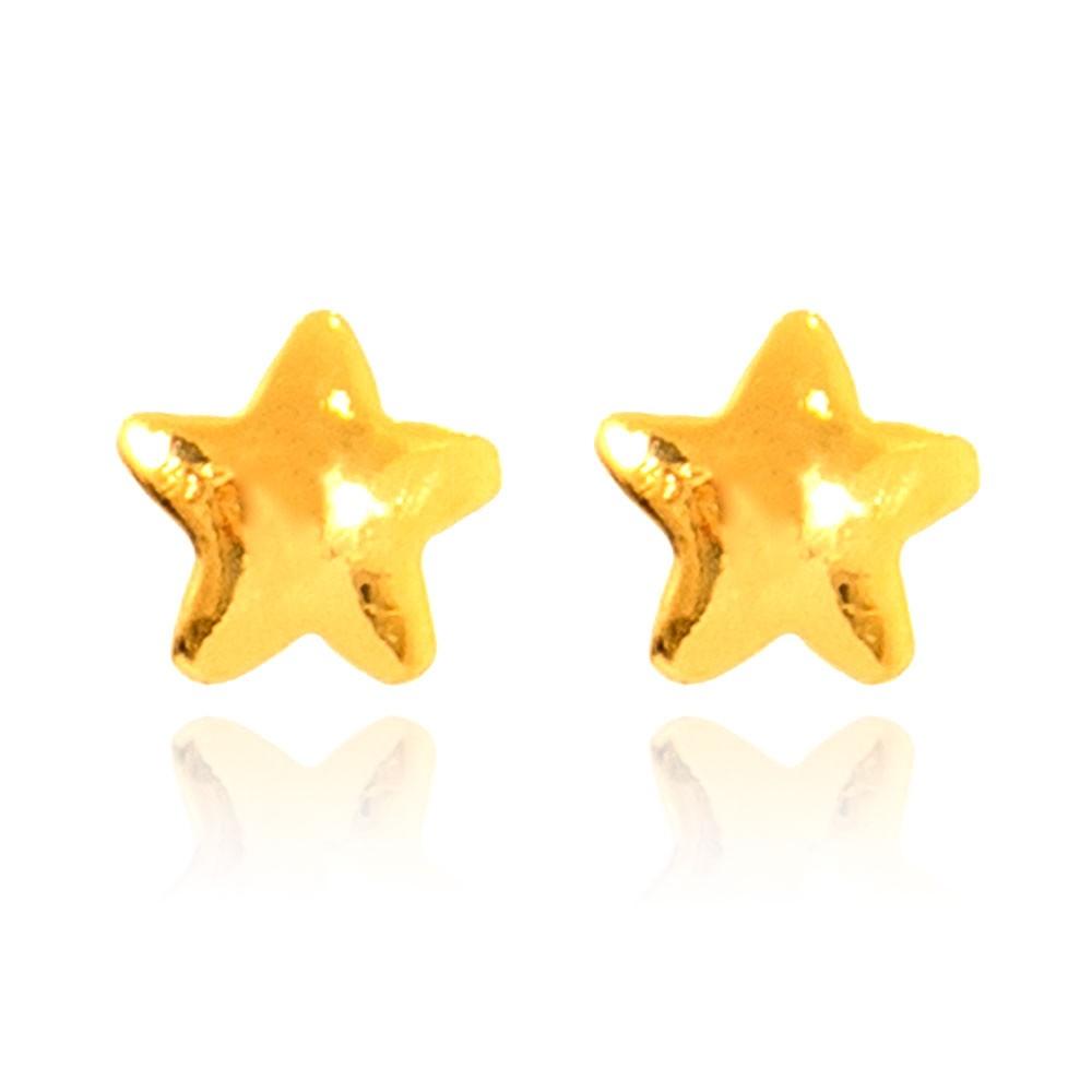 Brinco Estrela Pequena Folheado Ouro 18K